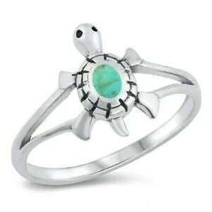Turtle Ring Genuine Sterling Silver 925 Turquoise Face Height 13 mm Size 6