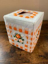 Handmade Needlepoint Plastic Canvas Tissue Box Cover - Orange Floral Gingham