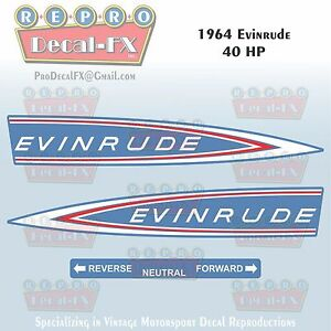 1964 Evinrude 40HP Outboard Reproduction 3Pc Marine Vinyl Decals 40402-03(52-53)