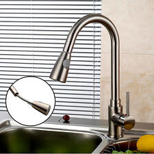 "USA 16"" Kitchen Sink Faucet Brushed Nickel Pull-Out Spray Swivel Spout Dispenser"
