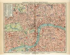 1902 ENGLAND LONDON CITY and WESTEND Antique Map dated