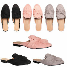 Womens Ladies Sliders Slip On Loafers Bow Knot Flat Low Heel Sandals Shoes Size