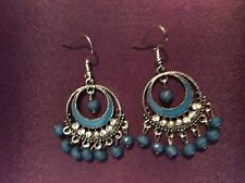 SILVER DANGLE CHANDLER EARRINGS BLUE ENAMEL AND BEADS 2 INCHES LONG