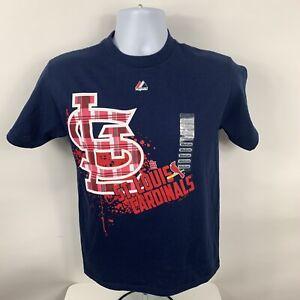 NEW St. Louis Cardinals Majestic T-Shirt Unisex Youth Medium Blue Crew Neck NWT
