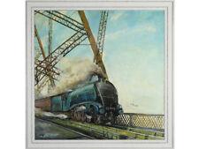Mallard steam train over Forth Bridge - oil on board, Signed & dated '71 Vintage