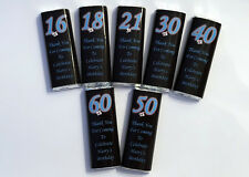 36 Personalised Birthday Chocolate Bar WRAPPERS R,BB 18th 21st 30th 40th 50th 60