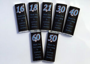 18 Personalised Birthday Chocolate Bar WRAPPERS R,BB 18th 21st 30th 40th 50th 60