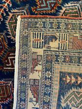New listing Caucasian Prayer Rug East Shirvan Marsali blue ~3x5ft area rug