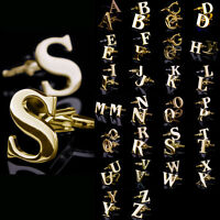 Lot Mens Vintage Stainless Steel Business Gift Gold Initials Letters Cufflinks