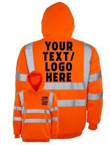 Personalised Custom Printed Hi Viz High Vis Safety Hoodie Orange