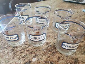 6 Vintage Neiman Marcus Name Your Poison Glasses Cora Cera EUC