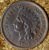 1868 Indian Head Cent - FINE+ with FULL LIBERTY, Dark - Old Cleaning  (M127)