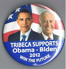 "Tribeca 2012 Obama Biden Jugate 3"" Political Pinback Button Manhatten New York"