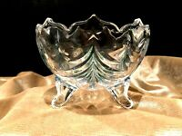 Scalloped Edges & Footed Mikasa Cut Crystal Candy Dish Christmas Tree Green