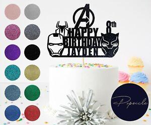 Personalised Birthday Avengers HAPPY BIRTHDAY Team Ironman Glitter Cake Topper