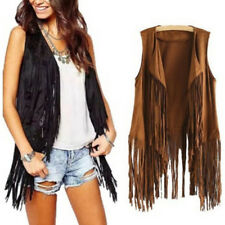 Women Autumn Winter Faux Suede Ethnic Sleeveless Coats Tassels Fringed Vest MO