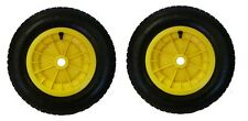 "PACK OF 2 YELLOW 14"" WHEELBARROW WHEELS 3.50-4.00-8 REPLACEMENT INFLATABLE TYRE"