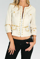 Women Ivory Faux Leather Lined Gold Studs Fitted Pockets Blazer Jacket S M