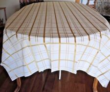 "TABLECLOTH  - 60 X 104"" - WHITE WITH GOLD - NEW - PERFECT FOR THE HOLIDAYS!"