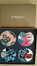 "Pureland Studio Ceramics Hand-painted Lotus Decorative 4"" Circlular Plate old"