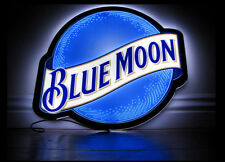 """New Blue Moon LED Beer Bar Cave Neon Light Sign 17"""""""