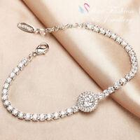 18K White & Rose Gold GP Simulated Diamond Round Cut Luxury Tennis Halo Bracelet
