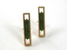 By S In Shield 31317 1970's Gold Tone & Green Cufflinks