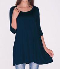Plus Size 2X - New 3/4 Sleeve Navy Blue Long Tunic Top Shirt Blouse Dress