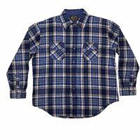 Vtg 70s K-Mart Mens XL Blue Plaid Wool Blend Flannel Shirt Jacket Made in Korea