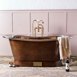 Witt & Berg Copper Bateau Bathtub - Antique Copper Exterior / Nickel Interior