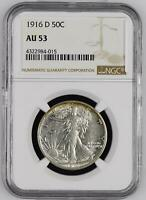 Half Dollars Liberty Walking 1916 D NGC AU-53