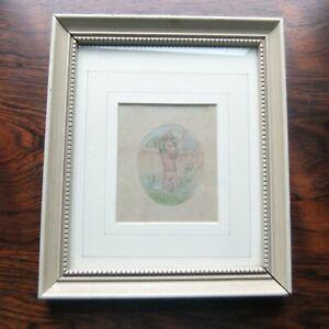 Original Art by Kate Greenaway Watercolor 'CHILDREN EMBRACING' Signed KG