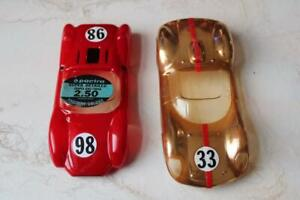 2-1/32 Scale Slot car Bodies 1-red pactra king cobra and 1-gold unknown N/R