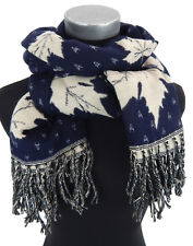 écharpe pour femmes BLEU IVOIRE FEUILLE motif par Ella Jonte Automne Hiver
