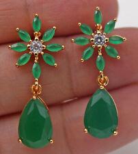 18K Yellow Gold Filled - 1.2'' Flower Teardrop Emerald Jade Topaz Stud Earrings