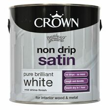 Crown 2.5L Non Drip Satin White Interior Exterior Wood Metal Paint Quick Drying