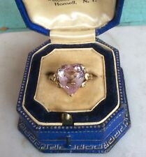 Antique Art Deco 10K Gold Heart Shaped Pink Topaz Paste Ring 10121765