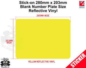 Stick On Blank Number Plate Square Tractor Truck registraion sticker REFLECTIVE