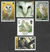 Barn Owls stamp collection-5 different mnh(Great Britain-Isle of man and Jersey)