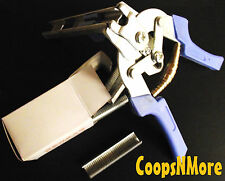 *COMBO*594 AUTO FEED HOG RINGS & PLIERS 11/16 = 1/4 POULTRY SHRINK BAG WIRE CAGE
