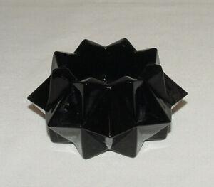 "PERFECT Black Glass ""Geometric"" Votive Candleholder!!"
