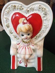 Vintage Relpo Girl Valentine Queen of  Hearts Planter Lady Ceramic Figurine 5932