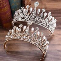Baroque Crystal Big Tiara Wedding Queen Rhinestone Bridal Hair Accessories Crown