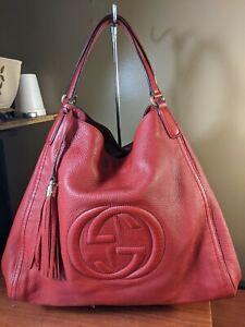Auth Gucci  Leather Double G Two Big GG Soho Large Hobo Handbag 282308