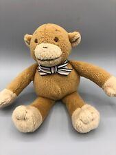 "Baby Gap Ricky Monkey Plush Lovey 8"" Makes Sounds Striped Bow Stuffed Animal Toy"