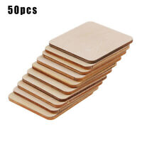 50PCS Wooden Square Shape Coasters Plain Wood Craft Blanks Squares Unfinished