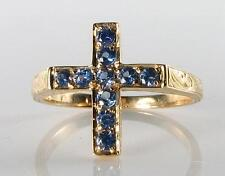 LUSH 9K 9CT GOLD CRUCIFIX CEYLON SAPPHIRE CROSS VINTAGE INS RING RELIGIOUS