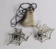 Halloween Ceramic Pottery Ghost Pendant or Ornament & Spider Web Pierce Earrings