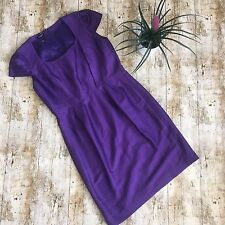 HOBBS STUNNING PURPLE WOOL SILK BLEND COCKTAIL PARTY OCCASION DRESS 14 Sheath