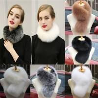 Frau Faux Fox Pelzkragen Schal Fluffy Winter Warm Schal Wrap Neck Stola Schals